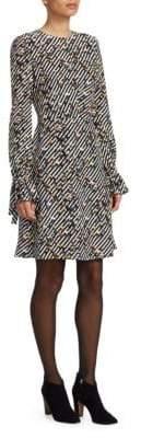 Akris Punto Crossroad-Print Silk Dress