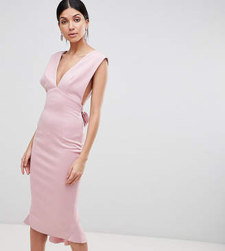 Asos Tall TALL Deep Plunge Corsage Back Pephem Midi Bodycon Dress 1e876c726