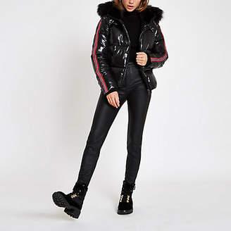 River Island Black high shine faux fur taped puffer jacket