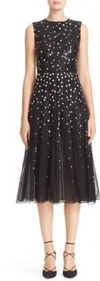Carolina Herrera Degrade Sequin Silk Midi Dress