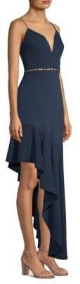 BCBGMAXAZRIA Asymmetric Flounce Gown