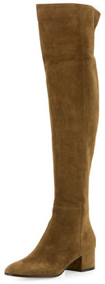 Gianvito Rossi Rolling Mid 45mm Over-the-Knee Boot, Military $1,695 thestylecure.com