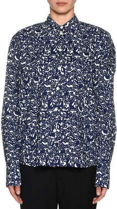 Marni Long-Sleeve Floral Print Polo Shirt