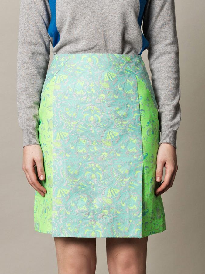 Richard Nicoll Jacquard split-hem skirt