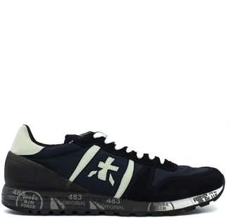 Premiata Eric Sneaker In Blue Suede Upper And Nylon.