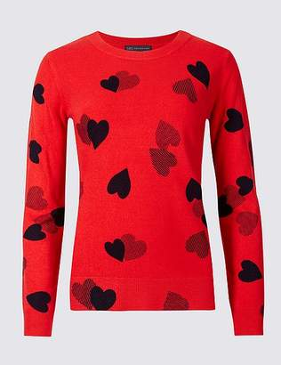 Marks and Spencer Heart Print Round Neck Jumper