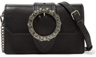 Miu Miu Miu Lady Embellished Smooth And Textured-leather Shoulder Bag - Black