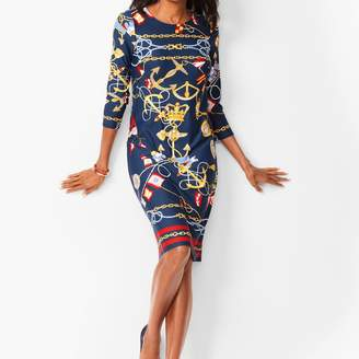 Talbots Nautical-Print Jewel-Neck Shift Dress