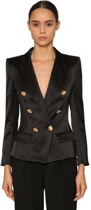 Alexandre Vauthier DOUBLE BREAST STRETCH SATIN BLAZER