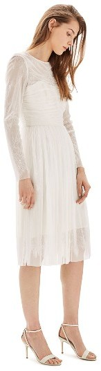 Topshop Women's Topshop Bride Tulle & Chantilly Lace Midi Dress