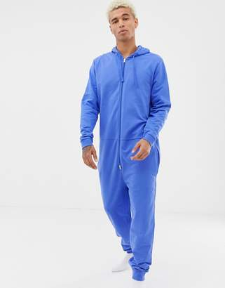 Asos DESIGN hooded onesie in blue