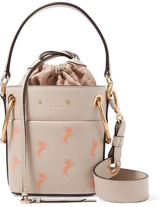 Chloé Roy Mini Embroidered Textured-leather Bucket Bag - Gray