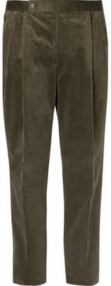 Camoshita Army-Green Cotton-Corduroy Suit Trousers