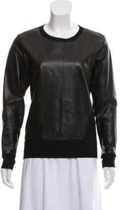 Helmut Lang Leather Trimmed Long Sleeve Sweatshirt Black Leather Trimmed Long Sleeve Sweatshirt