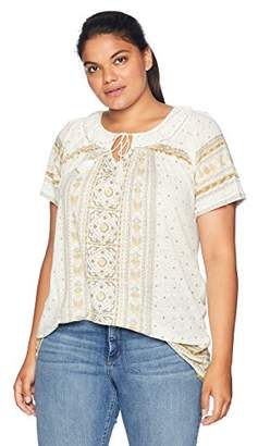 Lucky Brand Women's Size Plus Tile Print TOP