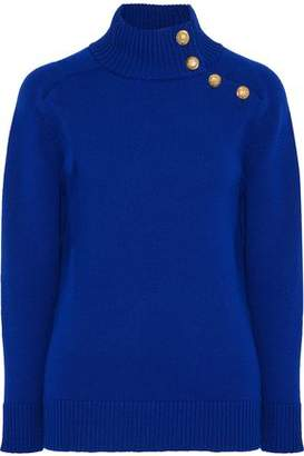 Lanvin Button-detailed Ribbed Wool Turtleneck Sweater