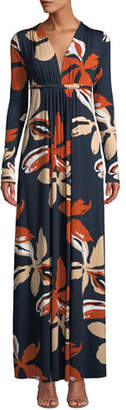 Rachel Pally Plunging-Neck Long-Sleeve Floral-Print Jersey Long Dress, Plus Size