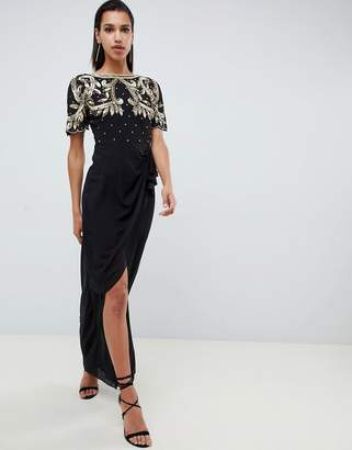 Virgos Lounge baroque embellished maxi dress with frill wrap skirt in black