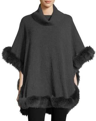 Sofia Cashmere Cashmere Turtleneck Poncho w/ Fur Trim