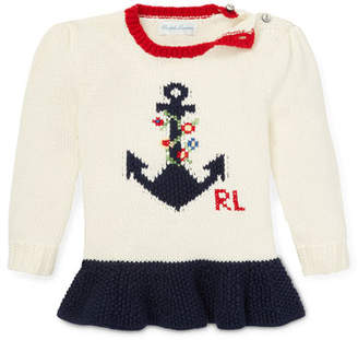 b016da83a Ralph Lauren Childrenswear Anchor Intarsia Peplum Sweater, Size 6-24 Months