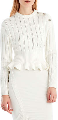 Jason Wu Crewneck Long-Sleeve Peplum Knit Sweater