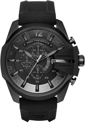Diesel Men's Chronograph Mega Chief Black Silicone Strap Watch 51x59mm DZ4378