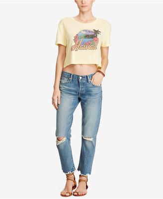 Denim & Supply Ralph Lauren Cropped Graphic-Print Cotton T-Shirt $39.50 thestylecure.com