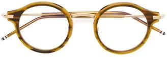 Thom Browne Eyewear Walnut & 18k Gold Optical Glasses