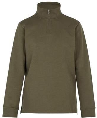 A.P.C. High Neck Zip Up Cotton Jersey Sweatshirt - Mens - Green