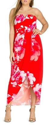 City Chic Plus Tango Floral Strapless Maxi Dress