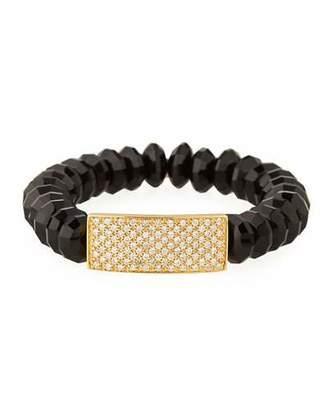 Sydney Evan 12mm Saucer Agate Beaded Bracelet with Diamond Rectangle Spacer