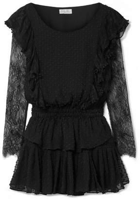LoveShackFancy Nat Lace-trimmed Fil Coupé Silk And Cotton-blend Mini Dress - Black