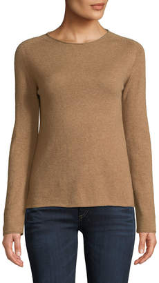 Basic Cashmere Crewneck Pullover Sweater, Camel