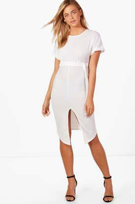 boohoo Olivia D-Ring Belted Midi Dress