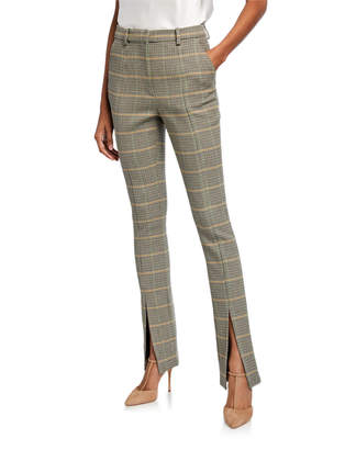A.L.C. Edwin Glen Check High-Rise Slit-Hem Pants