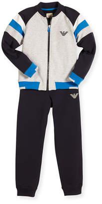 Armani Junior Stretch Jersey Track Jacket & Pants, Gray, Size 6-24 Months