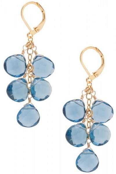 Styleserver DE David Aubrey Ohrringe mit blau-grauem Quarz-Cluster