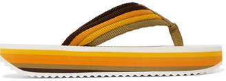 Zimmermann Rainbow Leather-trimmed Canvas Platform Flip Flops - Yellow