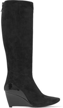 Roger Vivier Glossed Leather-Paneled Suede Wedge Knee Boots
