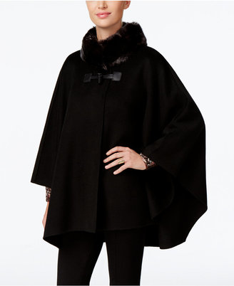 Jones New York Faux-Fur-Collar Double Faced Toggle Cape $360 thestylecure.com