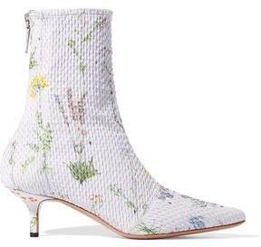 Altuzarra Elliot Floral-Print Matelassé Ankle Boots