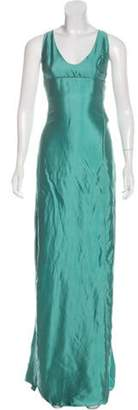 Narciso Rodriguez Silk Sleeveless Evening Gown Turquoise Silk Sleeveless Evening Gown