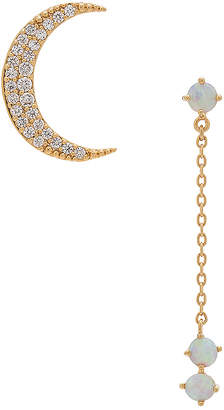 Wanderlust + Co Crescent Gold & Opal Drop Earring