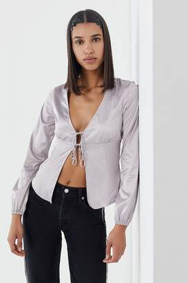 Urban Outfitters Silky Tie-Front Blouse