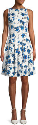 Oscar de la Renta Boat-Neck Floral-Print Dress with Pockets