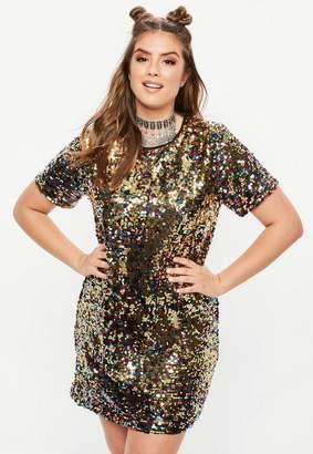 Missguided Curve Multi Coloured Sequin T Shirt Dress