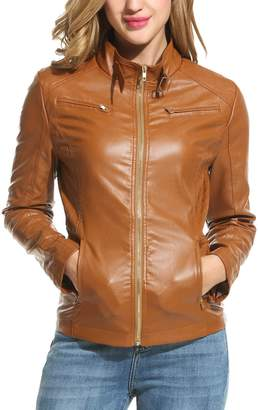 HOTOUCH Womens Soft PU Leather Moto Biker Jacket Bomber Jacket XL