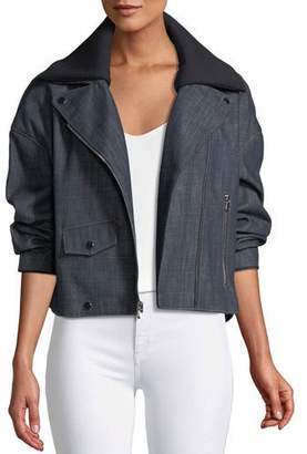 Tibi Cropped Raw Denim Moto Jacket