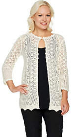Joan Rivers Classics Collection Joan Rivers Crochet Cardigan with 3/4 Sleeves
