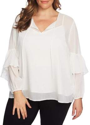 1 STATE 1.STATE Sheer Checked Tie Neck Blouse